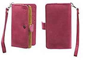 Jo Jo A9 Nillofer Leather Carry Case Cover Pouch Wallet Case For Spice Stellar Horizon Mi 505 Pro Pink