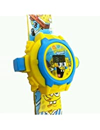 Shanti Enterprises Combo Sports Watch Multi Color Dial For Kids And Sponge Bob 24 Images Projector Watch