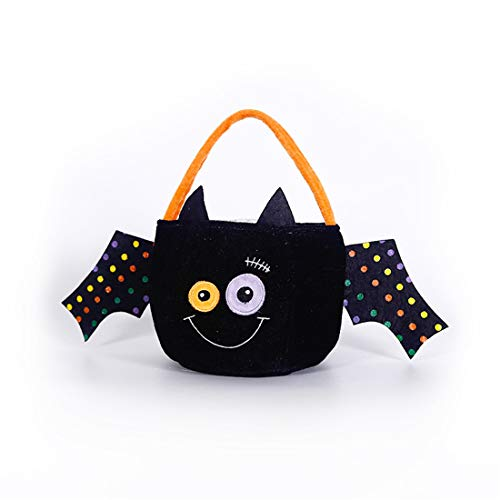 (VJUKUBWINE Halloween Portable Velvet Black Fledermaus Candy Bag Festival Kinderdekoration Requisiten Spielzeug Dress up Accessoires Spider Web Kürbis Ghost Geschenktasche Candy Bag Requisiten Tasche)