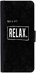 Snoogg Note To Self : Relax Graphic Snap On Hard Back Leather + Pc Flip Cover...