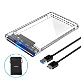 ELUTENG Transparent External Hard Drive Enclosure Adapter Support 2.5 Inch SSD / HDD Portable SATA III SSD Enclosure USB 3.0 UASP High Speed 5Gbps Clear Case Hard Drive Caddy for PC / Laptop