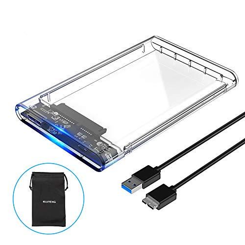 ELUTENG Box Esterno per SSD/HDD Trasparente 2.5 Pollici Supporta UASP SATA III 5Gbps Super velocità con Cavo USB 3.0 Adattatore Hard Disk Esterno