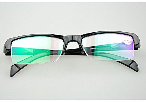 Hykis - Unisex Myopie Brillen Halb Rahmen Brillen M?nner Studenten Dioptrien Kurzsichtigkeit Brille Frauen-1,00-1,50-2,00-2,50-3,00-3,50-4,00 [200 Grad]