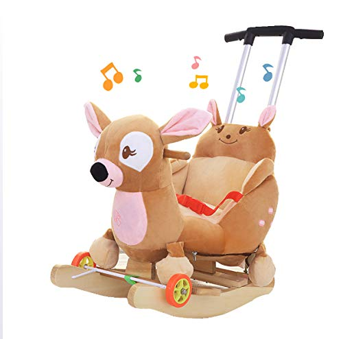 JTYX Baby Trojan Toy Rocking Chair Rocking Cradles Music Animal Rocking Horse Birthday Gift JTYX ★ Convenient and practical: This product allows the baby to exercise, grasp, climb, kick, squat, shake, etc., so that the baby can play easily. ★Removable design: The seat cover is detachable, easy to clean, safe in material and does not fade. Made of solid wood and plush, it is more comfortable and safer. ★Universal silent wheel design: 360° rotation, flexible, no damage to the floor, no noise, suitable for all kinds of road surface, scientific swing, anti-rollover, safer, adjustable safety buckle design, adjustable length, practicality, energy Effectively prevent your baby from falling and getting hurt 1