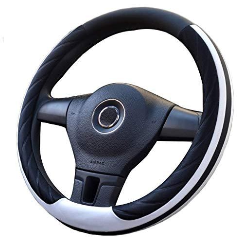 Preisvergleich Produktbild ADHW Auto Lenkradabdeckung Lenkradbezug Lenkradschoner Microfiber Leder Universal 14.17-15.74 inch / 36-40CM für Auto LKW SUV Van (Farbe : Weiß,  größe : 38cm)