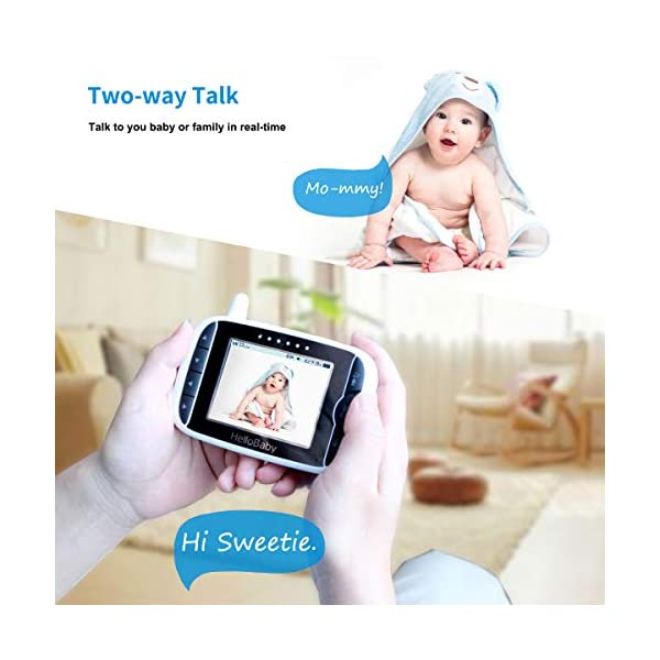 """HelloBaby Video Baby Monitor, [HB66] with VOX Mode Remote Camera Pan-Tilt-Zoom 3.2 Inches Color LCD Screen Infrared Night Vision Temperature Monitoring Lullaby 2-Way Audio (Black) hellobaby 3.2"""" LCD DISPLAY & 2.4GHz WIRELESS TECHNOLOGY: This video baby monitor is equiped with a 3.2 inch TFT LCD display. Application of frequency hopping and digital encryption technology ensures secure and reliable connection. REMOTE PAN TILT and ZOOM: Remote control camera rotate 355° in horizontal and 120° vertical ensuring you always have a clear view of your baby from any angle. TWO WAY TALK: The crystal clear two-way audio feature allows conversation both ends as clear as if you were in the same room with your little one. 6"""