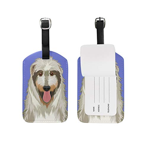 My Daily Irish Wolfhound Dog Luggage Tag PU Leather Bag Tag Travel Suitcases ID Identifier Baggage Label 1 Piece -