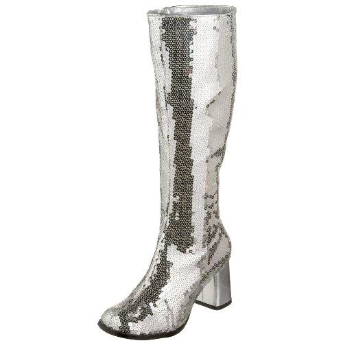 Pleaser Damen Spectacul-300Sq Stiefel, Silver (SLV Sequins), 40 EU