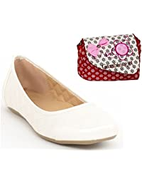 Etashee Synthetic Leather Quilted Flat Comfortable White Bellerina/shoes With Red Printed Sling Bag For Women