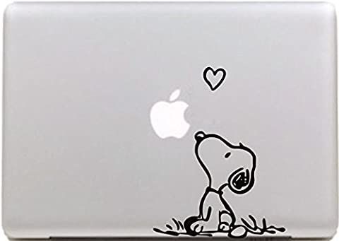 Vati Blätter abnehmbarer Creative Love Snoopy Aufkleber Aufkleber Skin Art schwarz für Apple MacBook Pro Air Mac 33cm 38,1cm Zoll/Unibody 33cm 38,1cm Zoll