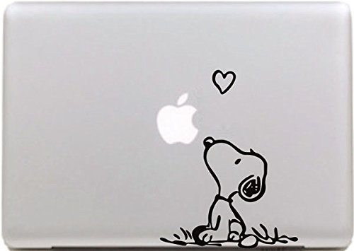 Vati Hojas desprendibles Creativo Amor Snoopy Sticker Decal Skin Arte Negro para Apple Macbook Pro Aire Mac 13'15' Pulgadas/Unibody 13'15' Pulgadas portátil