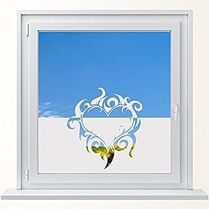 DD Dotzler Design 6416-8 individuelle Sichtschutzfolie Fensterfolie Milchglas Herz Flammen