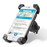 meacom Anti-Shake Fahrradhalterung, Fahrrad Handyhalter,Universal Fahrradhalterung Motorrad Universal Handy Halter für 3,5-6,5 Zoll Handy und GPS Fahrrad-Lenker Handyhalte (Schwarz