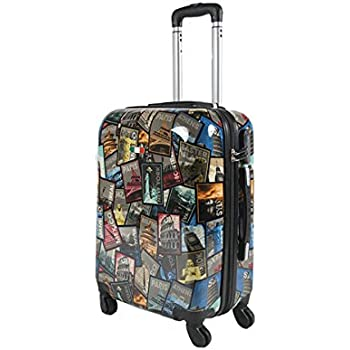 Valise bagage cabine JUSTGLAM 50cm - Trolley ABS ultra Léger - 4 roues pour voler avec EasyJet - Ryanair statua libertà v0XeEax0