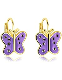 Epinki Mujer Pendientes Oro Mariposa Pendientes Amarillo