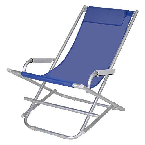 Enrico coveri sedia sdraio pieghevole in alluminio e tessuto textilene, dondolina con cuscino perfetta per giardino, esterno e mare (blu)