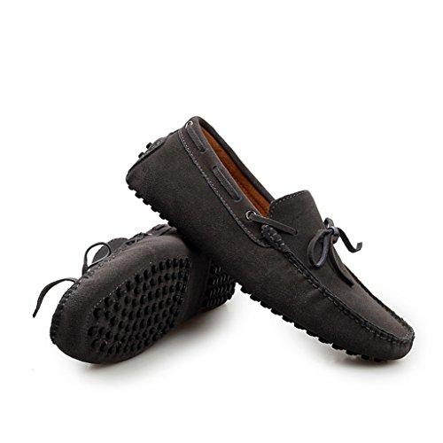 Men's Minitoo Nouveau nœud de route Loafers Penny bateau en daim pour chaussures Gris - Gris
