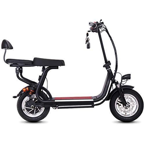 Creing Elektrischer Roller E-Scooter Faltbarer Power Scooter Mit Sitz Elektroroller StraßEnzulassung Cityroller 20-35 Km/h,Black (Motorroller Sitz)