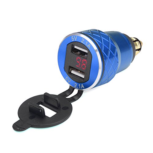 Alamor 12V-24V 4.2A Voltímetro Rojo Motocicleta Dual USB Cargador DIN Socket para...