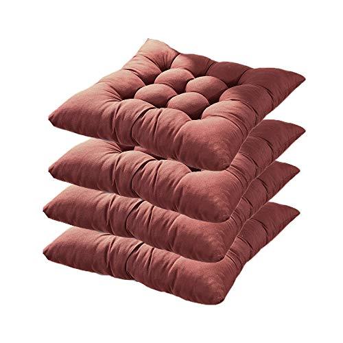 Agdllyd set da 4 cuscino sedia,cuscini per giardino, per dentro e/o fuori,40x40 cm,disponibile in tanti colori diversi,cuscini per sedie da giardino,copri sedia cucina (marrone)