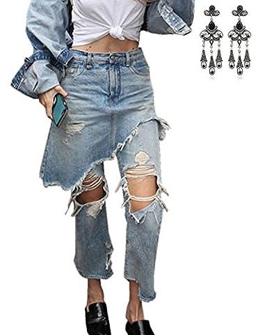 MODETREND Damen Rockhose Denim Hose Loch Jeans Pants Lässig Boyfriend Stil Punk Hippie Hosen (Damen Cargo-stil Jeans)