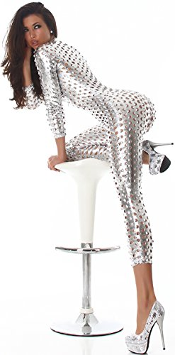 Jela London Damen GoGo Wet-Look Overall Jumpsuit Onesie 3/4-Langarm Body Metallic Glanz Reißverschluss (34 36 38) Silber
