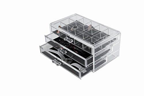 Compactor RAN6642 Schmuck-Organizer, 3 Schubladen, oberste Schublade mit 15 Fächern, 23,8 x 15 x 11 cm