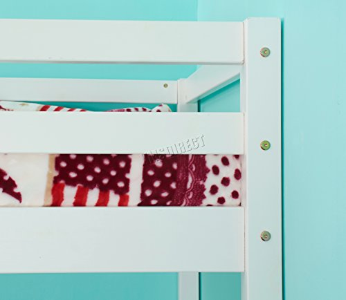 WestWood Childrens High Sleeper Cabin Wooden Frame Bunk Bed With Desk Kids Single 3FT White No Mattress New