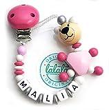 LALALO Schnullerkette 3D Teddy oso con nombre, Baby Schnullerhalter de madera, Handmade Teddybär individual Namenskette para nacimiento, cumpleaños, bautizo para niños & niñas rosa Rosa
