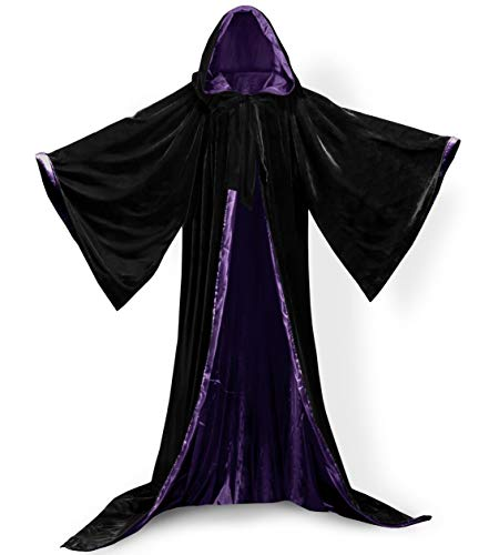 vipgowns Unisex Halloween Kostüm Karneval Fasching Costume Umhang Cape Lange Ärmel Cosplay Kapuze Vampir Zauberer für Damen Herren Erwachsene Kinder (Black-Purple, 4XL)