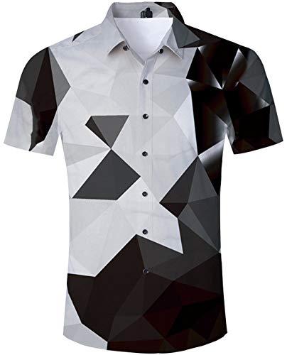 TUONROAD Freizeithemden Herren Funny Geometrische 3D Gedruckt Muster Bunte Funky Shirt Hemd Herren Kurzarm Sommerhemd Button Down Schwarz Hawaiihemd Strandhemd Hawaii Hemd Männer Jungen XL