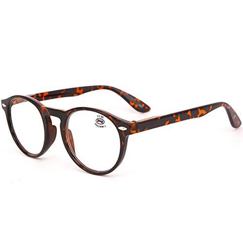 VEVESMUNDO® Lesebrillen Damen Herren Federscharniere Retro Runde Lesehilfe Sehhilfe Arbeitsplatzbrille Nerdbrille Hornbrille mit Stärke Schwarz Leopard Blau Rot Brau (+3.5, Leopard)