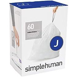 simplehuman Code J, Custom Fit Bin Liners, 60 Liners, White, 30-45 L