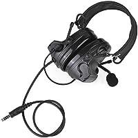 Newest Headp de camuflaje táctico COMTAC II reducción de ruido auriculares electrónica sonido Pickup con auriculares de seguridad con micrófono, Bk
