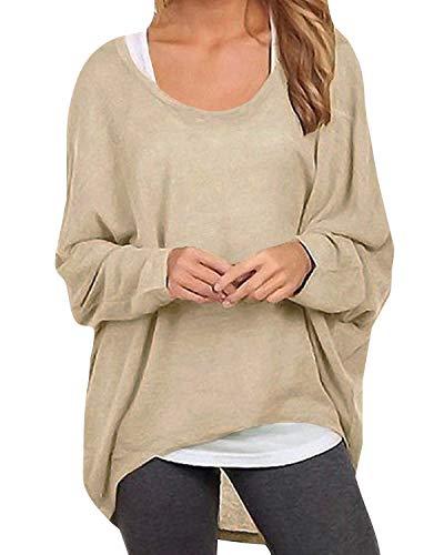 ZANZEA Damen Lose Asymmetrisch Jumper Sweatshirt Pullover Bluse Oberteile Oversize Tops Beige EU 36/Etikettgröße S - Asymmetrische Top