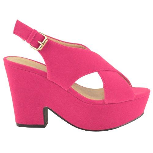 DONNE alto tacco medio plateau forma piatta Scarpe con zeppa sandali con punta aperta taglia Rosa Shocking Scamosciata