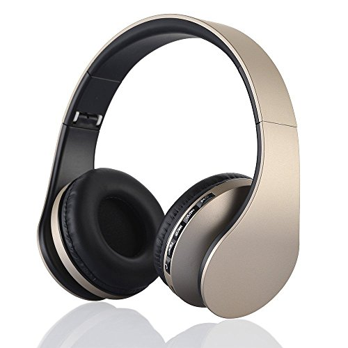 Bluetooth drahtlose Kopfhörer, EONSMN 4 in 1 Stereo Bluetooth faltbare Headsets mit Micro Support SD / TF Karte für Smart Phones Tablet PC Notebook (Gold)