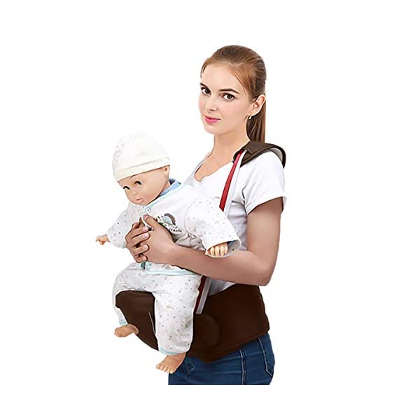 SONARIN Multifunctional Front Hipseat Baby Carrier,Ideal Gift(Brown) SONARIN Applicable age and Weight:0-36 months of baby, the maximum load: 20KG, and adjustable the waist size can be up to 45.3 inches (about 115cm). Material:designers carefully selected comfortable and cool polyester fabric, light, tear-resistant, breathable,Inner pad : EPP Foam,safe and no deformation. Description:Sturdy buckle and inner soft padded ensuring baby safety and parent's comfort.It takes 1 second to put on.Nothing is more convenient.Side with small pockets, in order to store handkerchiefs, wallets and mobile phones and other small items. 2