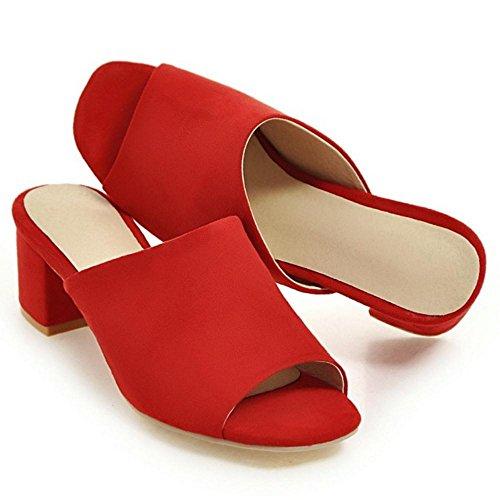 RAZAMAZA Femmes Peep Toe Mules red