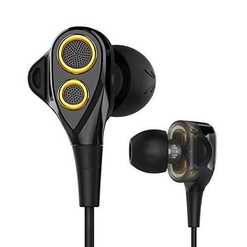 Ohrhörer, UiiSii DT200S In Ear Ohrhörer mit Mikrofon, Triple Drivers Kopfhörer mit Noise Isolating, Lautstärkeregler und Stereo Bass, Kompatibel mit Apple iOS, Android Handys, PC, Tablet (Schwarz) (Triple-driver-ohrhörer)