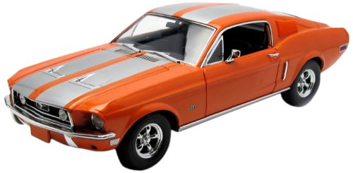 1968 Ford Mustang GT Fastback Orange with Silver Stripes 1/18 Limited Edition 1 of 999 Produced Worldwide by Greenlight 50830 (Orange Mustang)