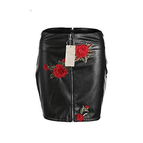 GYYWAN Womens Röcke Blume Gestickte Frauen Schwarz Pu Leder Reißverschluss Bleistift Hohe Taille Mini Kurzen Rock Stretch Kleidung -