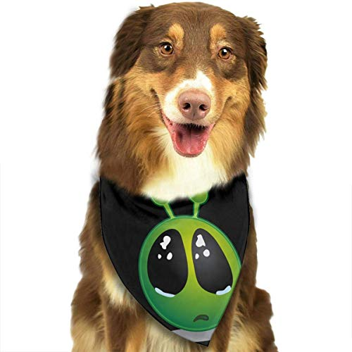 Sdltkhy Smiley Green Alien Big Eyes Fashion Dog Bandana Haustierzubehör Easy Wash Scarf