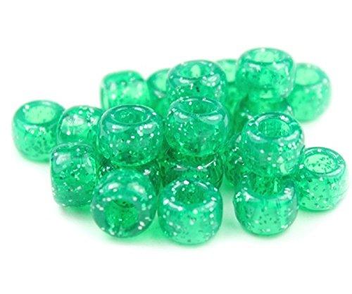 250x Pony Perlen 9mm x 6mm Smaragd Grün Sparkle Glitter–Armbänder Flechten Clips Haar Farbe Acryl Kunststoff, fassförmig, rund–Perlen und Charms