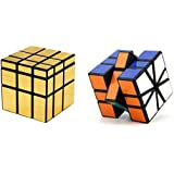 Magic Rubik Gold Mirror & Square-1 Cube Combo Puzzle Cube Brainstorming Game Toy With Black Base & Neon Color
