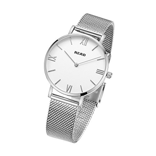 READ Montre pour Femmes, Montre À Quartz,Top Marque, Montres-Bracelets Ultra-Mince (Metallic-White)