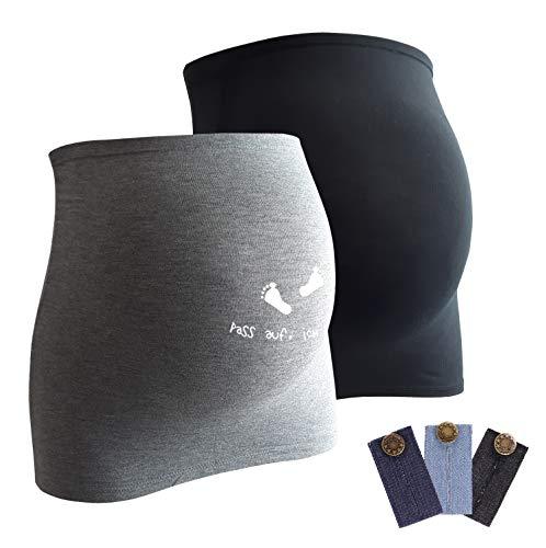 Mamaband Schwangerschaft Bauchband für die Babykugel im Doppelpack 1xUni 1x Pass auf ich trete- Rückenwärmer und Shirtverlängerung für Schwangere - Elastische Umstandsmode Grau 32-38