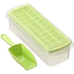 Eiswürfelform,Xfay Neues Design Deckel Eiswürfelbox mit Deckel aus Kunststoff,robuster Eiswürfelbehälter für früchte eiswürfel eismaschine 33 Würfelfächer-3