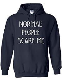Normal People Scare Me Funny Novelty White Femme Homme Men Women Unisex Sweat à Capuche Hooded Sweatshirt Hoodie