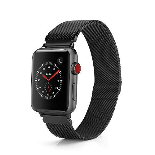 TJ`s [Milanaise Armband aus Edelstahl mit [Magnet Verschluss] für Apple Watch iWatch 42mm für Series 1/2 / 3 in Schwarz